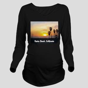 Beach Sunset with Pa Long Sleeve Maternity T-Shirt