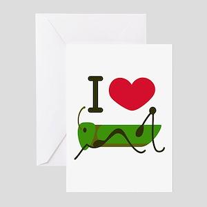 I Love Grasshopper Greeting Cards
