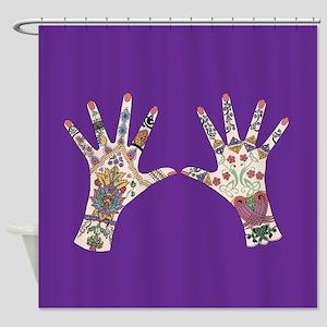 celtic Mehndi hand Shower Curtain