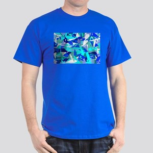 Abstract Retro Blue Dark T-Shirt