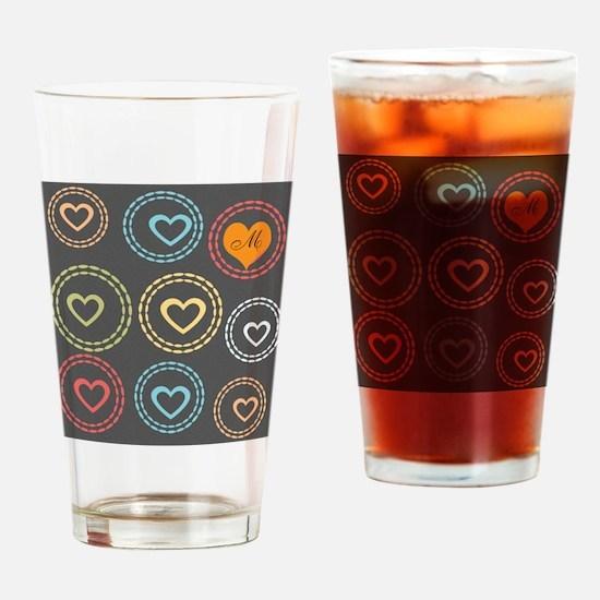 Cute Hearts Monogram Drinking Glass