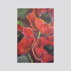 Three Red Poppies Rectangle Magnet
