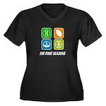 Four Seasons Women's Plus Size V-Neck Dark T-Shirt