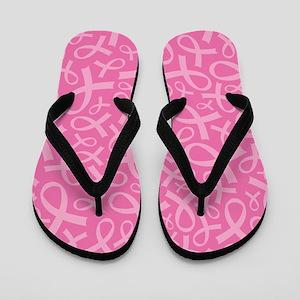 Breast Cancer Pink Ribbon Flip Flops