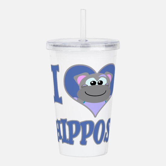 love hippos.png Acrylic Double-wall Tumbler