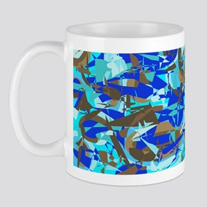 Abstract Retro Blue & Brown Mug