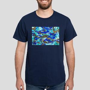 Abstract Retro Blue & Brown Dark T-Shirt