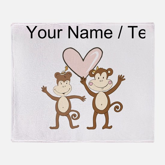 Custom Monkey Love Throw Blanket