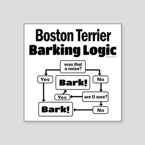 "Boston Terrier Logic Square Sticker 3"" x 3"""