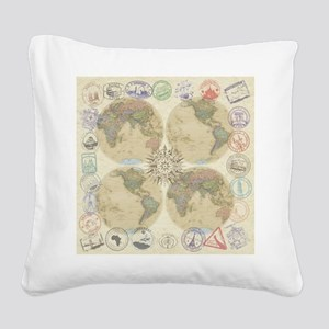 Globe Passport Stamp Square Canvas Pillow