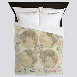 Globe Passport stamp Queen Duvet