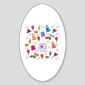 Girls Just Want To Shop! Sticker (Oval)