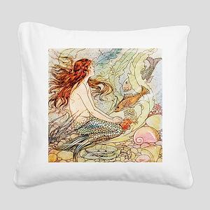 Vintage Mermaid Square Canvas Pillow