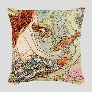 Vintage Mermaid Woven Throw Pillow