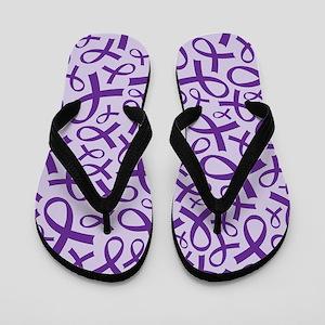 Alzheimer's Purple Ribbon Flip Flops