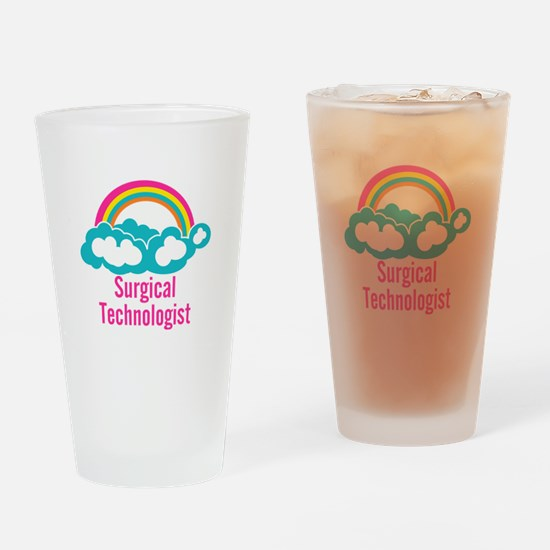 Cloud Rainbow Surgical Technologist Drinking Glass