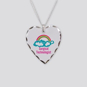 Cloud Rainbow Surgical Techno Necklace Heart Charm