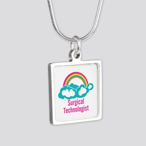 Cloud Rainbow Surgical Tec Silver Square Necklace