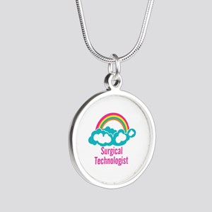 Cloud Rainbow Surgical Techn Silver Round Necklace