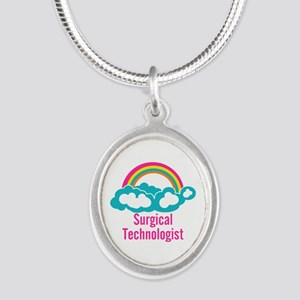 Cloud Rainbow Surgical Techno Silver Oval Necklace
