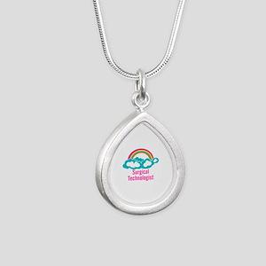Cloud Rainbow Surgical T Silver Teardrop Necklace