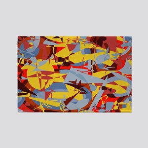 Abstract Retro Yellow Red Gra Rectangle Magnet