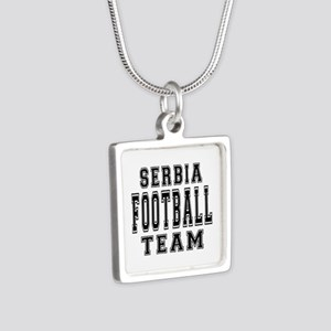 Serbia Football Team Silver Square Necklace