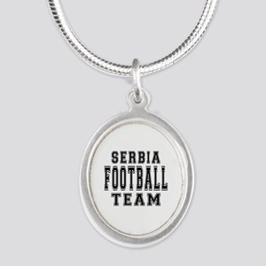 Serbia Football Team Silver Oval Necklace