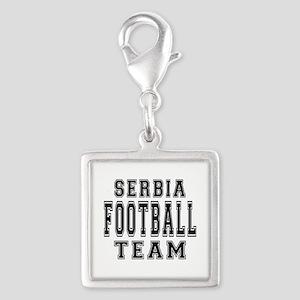 Serbia Football Team Silver Square Charm