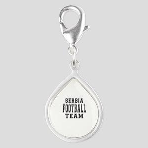 Serbia Football Team Silver Teardrop Charm