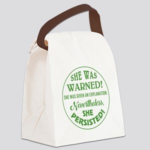 SHE WAS WARNED! Canvas Lunch Bag