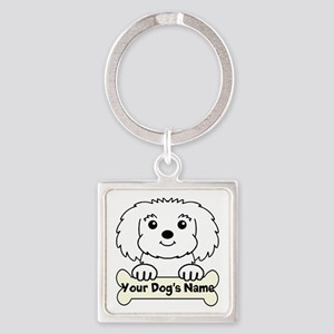 Personalized Maltese Square Keychain