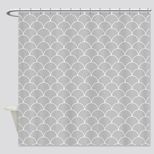 Grey and White Scallop Pattern Shower Curtain