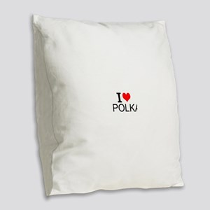 I Love Polka Burlap Throw Pillow