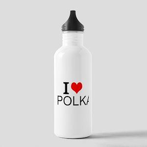 I Love Polka Water Bottle