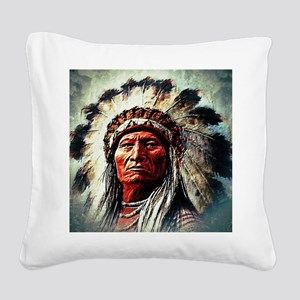 Sitting Bull Square Canvas Pillow