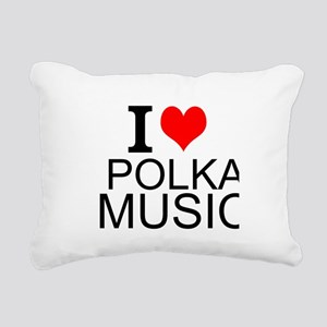 I Love Polka Music Rectangular Canvas Pillow
