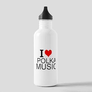 I Love Polka Music Water Bottle