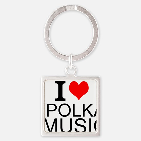 I Love Polka Music Keychains