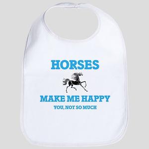 Horses Make Me Happy Baby Bib