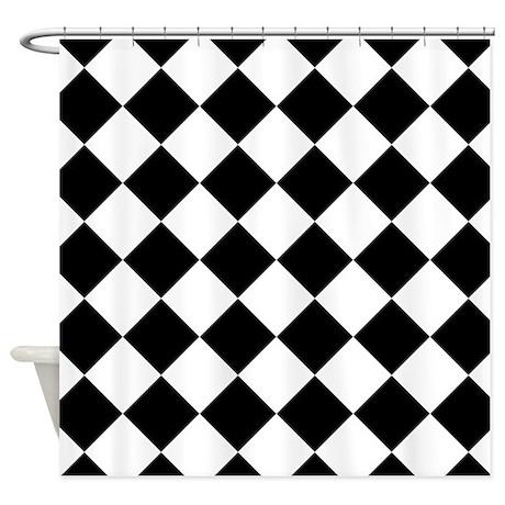 Diamond Black White Shower Curtain By Classof Tshirts