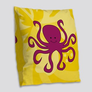 Octopus Burlap Throw Pillow
