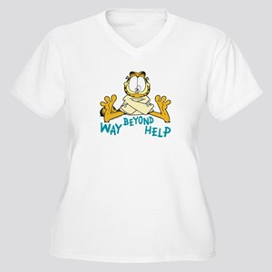 Beyond Help Garfield Women's Plus Size V-Neck T-Sh