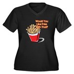 Like Fries With That? Women's Plus Size V-Neck Dar