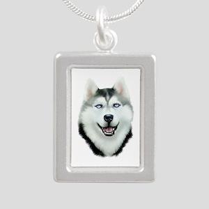 Siberian Husky Silver Portrait Necklace