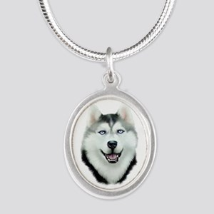 Siberian Husky Silver Oval Necklace