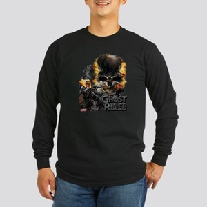 Ghost Rider Skull Long Sleeve Dark T-Shirt