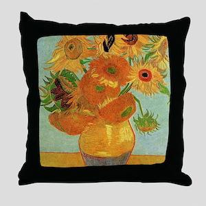 Vase with Twelve Sunflowers, Van Gogh Throw Pillow
