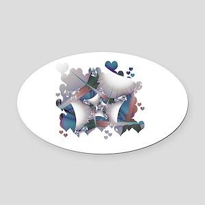 Hearts Galore Fractal Oval Car Magnet