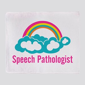 Cloud Rainbow Speech Pathologist Throw Blanket